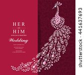 wedding invitation or card with ... | Shutterstock .eps vector #441637693
