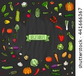 hand drawn doodle vegetables... | Shutterstock .eps vector #441666367