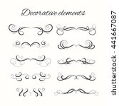 hand drawn dividers set.... | Shutterstock .eps vector #441667087