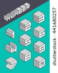 set of the isometric numbers.... | Shutterstock .eps vector #441680257