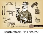 cigar  lighter  ashtray ... | Shutterstock .eps vector #441726697