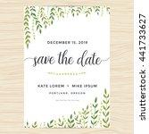 Elegant garden leafs design for save the date card, wedding invitation template. Vector illustration.