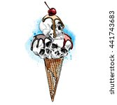 ice cream cone with a skulls... | Shutterstock .eps vector #441743683