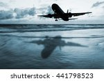 Dark Airplane With Seascape...