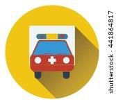 ambulance car icon. flat color...