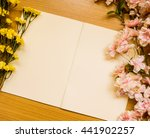 notebook and rose flowers on... | Shutterstock . vector #441902257