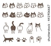 various kinds of cats  face ...