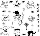 doodle set halloween flat with... | Shutterstock .eps vector #441906697