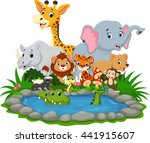 wild animal with a crocodile in ... | Shutterstock . vector #441915607