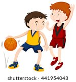 two boys playing basketball... | Shutterstock .eps vector #441954043
