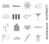 singapore icons set in outline...   Shutterstock .eps vector #441990277
