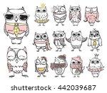 cute hipster owls | Shutterstock .eps vector #442039687