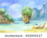 landscape with rocks  the sea...   Shutterstock . vector #442044217