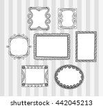 vintage photo frame in doodle... | Shutterstock . vector #442045213