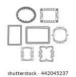vintage photo frame in doodle...   Shutterstock . vector #442045237