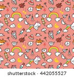 various object doodle background | Shutterstock . vector #442055527