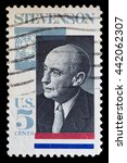 Small photo of UNITED STATES OF AMERICA - CIRCA 1965: A used postage stamp printed in United States shows a portrait of the politician and diplomat Adlai Stevenson, circa 1965