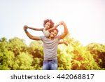 father carrying daughter... | Shutterstock . vector #442068817
