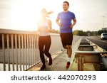 beautiful couple in motion... | Shutterstock . vector #442070293
