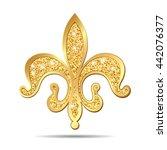 golden fleur de lis decorative... | Shutterstock . vector #442076377