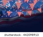 Usa Flag On Fireworks Background
