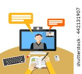 video call or conference on... | Shutterstock .eps vector #442131907