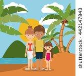 family beach vacation design  | Shutterstock .eps vector #442147843