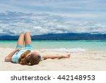 young beautifull girl lies on... | Shutterstock . vector #442148953