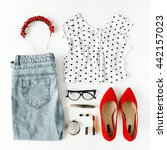 flat lay feminine clothes and... | Shutterstock . vector #442157023
