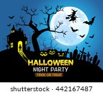 halloween night party blue... | Shutterstock .eps vector #442167487