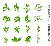 set of leaves icons | Shutterstock .eps vector #442204603