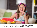 girl drinking lemonade in front ... | Shutterstock . vector #442206373