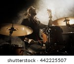 Silhouette Drummer On Stage....