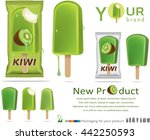 kiwi  ice cream with packaging... | Shutterstock .eps vector #442250593