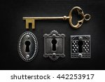 three vintage door locks with... | Shutterstock . vector #442253917