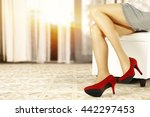 woman on white sofa and red... | Shutterstock . vector #442297453
