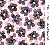 seamless pattern with hand... | Shutterstock .eps vector #442332487