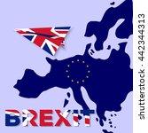 brexit. united kingdom flag as... | Shutterstock .eps vector #442344313