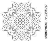 black outline flower mandala.... | Shutterstock .eps vector #442346947