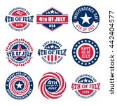 fourth of july vintage labels... | Shutterstock .eps vector #442404577