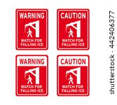 warning caution sign vector set ... | Shutterstock .eps vector #442406377