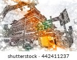 watercolor processing of buddha ... | Shutterstock . vector #442411237