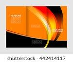 template design of blue trifold ... | Shutterstock .eps vector #442414117