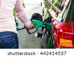 woman holding fuel pump in gas... | Shutterstock . vector #442414537