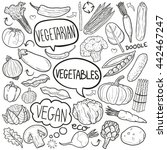 vegetable food doodle icon hand ... | Shutterstock .eps vector #442467247