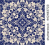 seamless damask pattern in blue ... | Shutterstock .eps vector #442483723