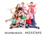 group of kids posing isolated... | Shutterstock . vector #442537693