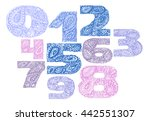 numbers decorative set with a... | Shutterstock .eps vector #442551307