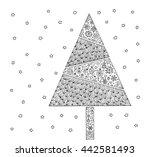 christmas tree. vintage card.... | Shutterstock .eps vector #442581493