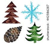 christmas winter watercolor set ... | Shutterstock . vector #442586287